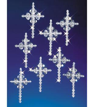 "Holiday Beaded Ornament Kit-Crystal Crosses 2"" Makes 24"