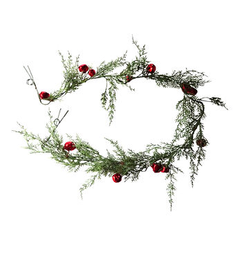 Blooming Holiday Christmas 4''x66'' Snow Cypress & Red Bell Garland