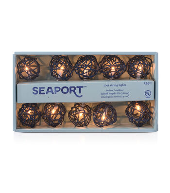 Seaport 10 ct Navy Rattan String Lights