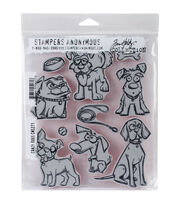 Stampers Anonymous Tim Holtz Cling Mount Stamps-Crazy Dogs, , hi-res