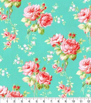 Premium Cotton Fabric-Aqua Medium Floral