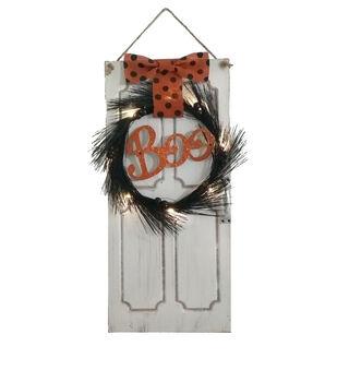 Maker's Halloween LED Door with Wreath Wall Decor-Boo