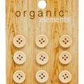 Organic Elements 9 pk 0.5\u0027\u0027 Wooden Round Buttons-Tan