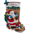 Santa\u0027s Visit Stocking Felt Applique Kit 18\u0022 Long