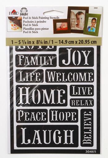 FolkArt 5.63''x8.25'' Peel & Stick Painting Stencils-Happy Words