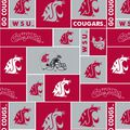 Washington State University Cougars Fleece Fabric -Block