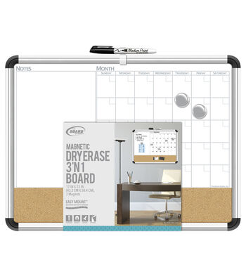 The Board Dudes Aluminum Framed Magnetic Dry Erase 3-in-1 Board