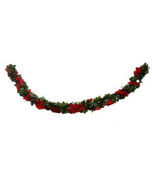 Handmade Holiday Christmas Holly Leaf & Red Poinsettia Garland