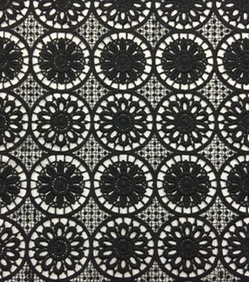 Lace Knit Fabric 48''-Black Medallion Floral
