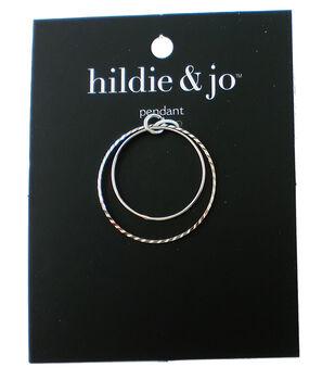 hildie & jo 1.5''x1.5'' Metal Open Circles Pendant-Silver