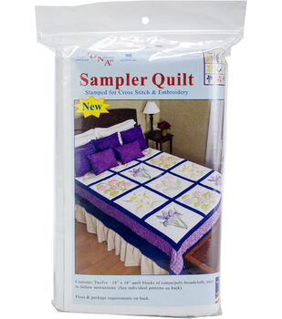 Jack Dempsey Needle Art 18''x18'' Stamped Sampler Quilt Blocks-Flowers