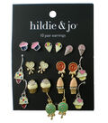 hildie & jo 10 Pair Multi Sweet Earrings-Gold & Silver
