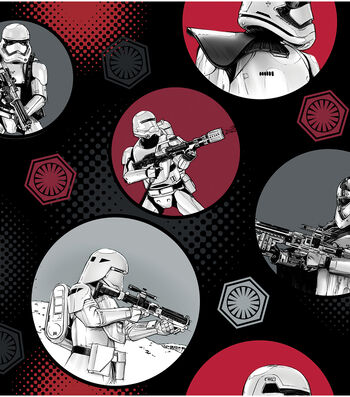 """Star Wars: The Force Awakens Fleece Fabric 58""""-Stromtroopers in Circles"""