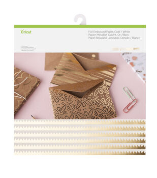 Cricut 12 Pack 12''x12'' Deluxe Foil Embossed Papers-Gold & White