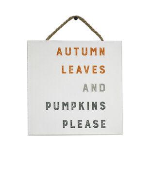 Simply Autumn Enamel Wall Decor-Autumn Leaves & Pumpkins Please