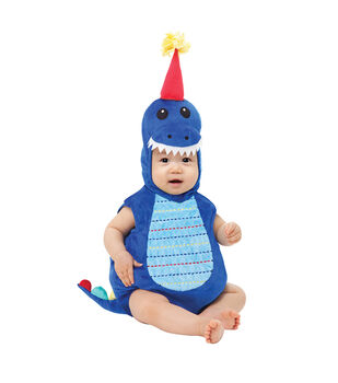 Maker's Halloween 12-18 months Infant Dinosaur Romper Costume-Blue & Red