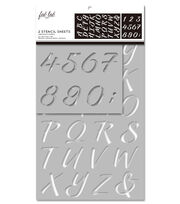 Fab Lab 2 pk Stencil Sheets-Uppercase Alphabet & Numbers, , hi-res