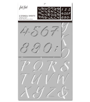 Fab Lab 2 pk Stencil Sheets-Uppercase Alphabet & Numbers
