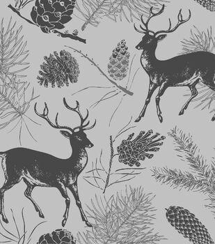 Snuggle Flannel Fabric -Deer Gray