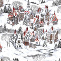 Christmas Cotton Fabric-Snowy Holiday Village