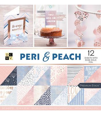 DCWV 36 Pack 12''x12'' Premium Stack Printed Cardstock-Peri & Peach