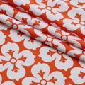 100% Linen Fabric-Orange White Big Flower