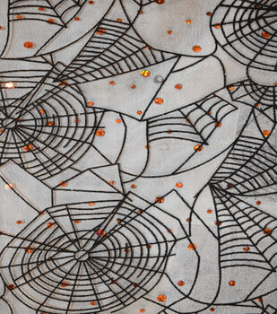 The Witching Hour Halloween Fabric -Flocked Web Orange Duccos