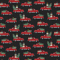 Christmas Cotton Fabric-Red Truck with Holiday Treats