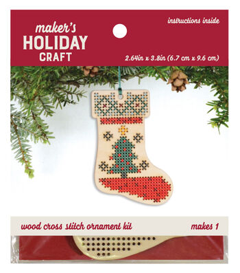 Wood Cross Stitch Ornament Kit-Stocking