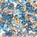 SuperDuo Beads 2.5mmx5mm-Aqua Capri Gold