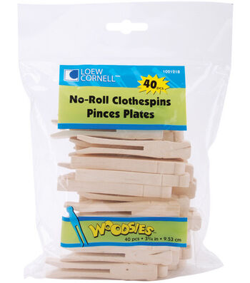 "Loew-Cornell 3-3/4"" No Roll Clothespins-40PK"