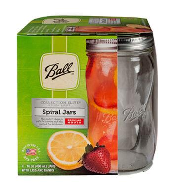 Ball Elite 4 Pack 16 oz. Regular Mouth Pint Spiral Mason Jars