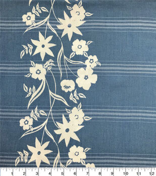 Americana Summer Crinkle Rayon Fabric-Chambray Stripe Floral Border