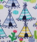 Blizzard Fleece Fabric -Teepee & Cactus