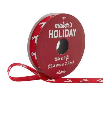 Maker's Holiday Christmas Ribbon 5/8''x9'-White Reindeer on Red