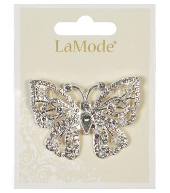 LaMode Large Rhinestone Butterfly