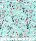 Snuggle Flannel Fabric-Spotted Kitties And Hearts