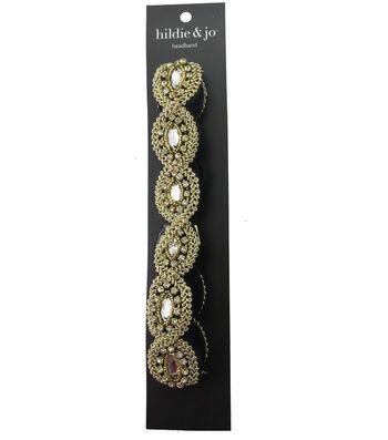 hildie & jo Braid & Bead Gold Soft Headband-Clear Round Crystals