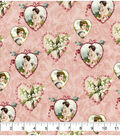 Valentine\u0027s Day Fabric -Pink with Vintage Hearts