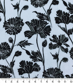 Silky Crinkle Rayon Fabric-White Black Mod Floral