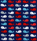 Snuggle Flannel Fabric -Whales Red Blue