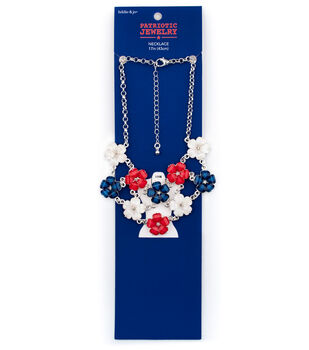 hildie & jo Patriotic Jewelry-Red, White & Blue Flower Necklace