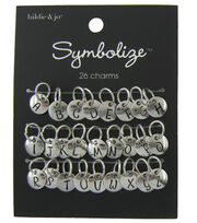 hildie & jo Symbolize 26 Pack Round Silver Charms-Black Alphabet, , hi-res