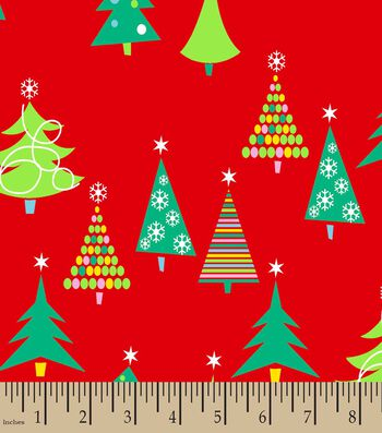 Christmas Trees Print Fabric