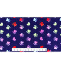 Anti-Pill Plush Fleece Fabric-Paw Prints & Hearts