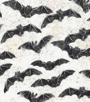 "Halloween Cotton Fabric 43""-Flying Bats"