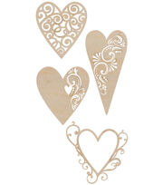 Kaisercraft Wood Flourishes 4Pk-Fancy Hearts, , hi-res
