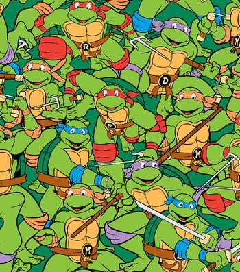 "Nickelodeon Teenage Mutant Ninja Turtles Flannel Fabric 42""-Retro"