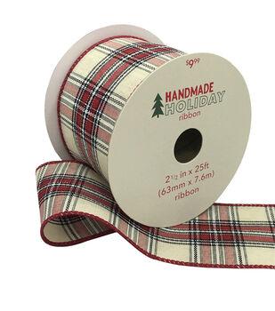 Handmade Holiday Christmas Ribbon 2.5''x25'-Red, Black & Ivory Plaid