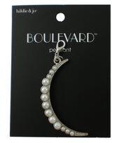 hildie & jo Boulevard 2'' Moon Silver Pendant-Round Pearls, , hi-res